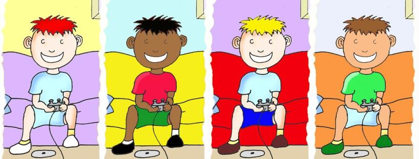 Meninos jogando vídeo game