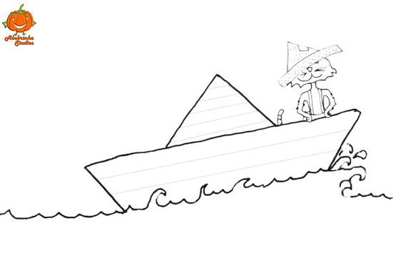 desenho-para-colorir-gato-barco
